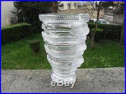 Superbe rare vase en cristal Lalique France aux oiseaux modèle Saint Marc 17 cm