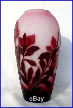 Superbe vase Delatte décor fleurs ibiscus éra Daum Gallé Muller