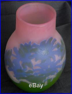 Superbe vase Galle aux cineraires bleues, belles couleurs, era daum 1900
