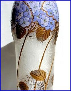 Superbe vase Montjoye aux hortensias era Daum Gallé Legras