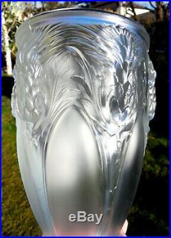 Superbe vase VERLYS au chardons, era daum lalique sabino etling galle 1920