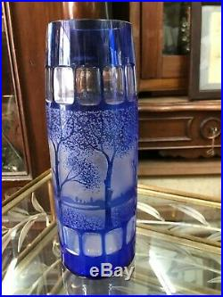 Superbe vase art déco dégagé à l'acide bleu décor arbres Saint Louis Daum