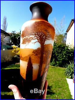 Superbe vase d'argental Chateau de Waldeck, étang de Hanau era daum galle
