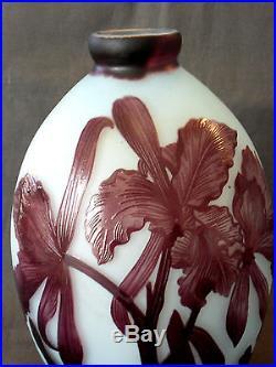 Superbe vase gravé par Andre delatte, parfait, 21 cm, era daum galle muller