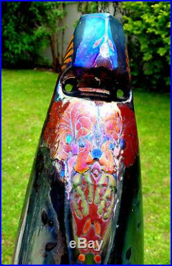 Superbe vase irisé MONTIERES iris et bleuets art-deco, era massier daum barol