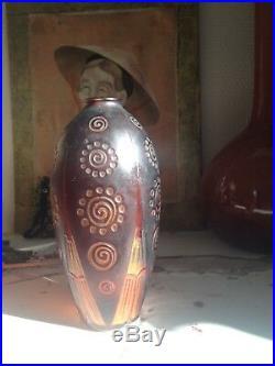 Superbe vase soliflore Art nouveau signé d'Argental (Paul Nicolas) décor dégagé