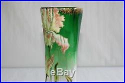 Superbe vase verre émaillé Legras, modèle Lamartine, numéroté 36, H 20 cm