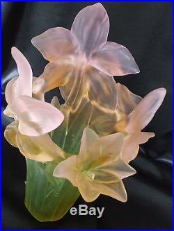 Tres Beau Vase Amaryllis Rose Ambre Pate De Verre Daum Signe Couleurs Veritables