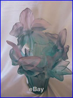 Tres Beau Vase Amaryllis Rose Jade Pate De Vert Signe Daum Neuf