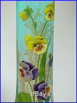 TRES RARE. Vase LEGRAS couleur dégradée CELADON. Vase LAMARTINE aux pensées
