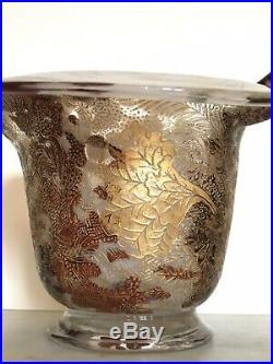 TRES RARE et Magnifique Vase Verre Guilloché POMPEI LEGRAS Fin XIXe 19TH