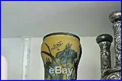 Très Beau Vase Galle Belle Copie Type Galle Motif Floral