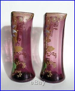 Très Belle Paire De Vases Art Nouveau En Verre Émaillé Legras Montjoye