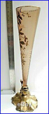 Très haut Vase Cornet, Art Nouveau Japonisant, 58cm! Cristalleries de Pantin, L
