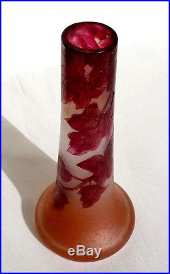 Très joli vase Legras série rubis éra Daum Gallé Muller