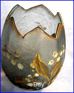 Très joli vase muguet par Montjoye, parfait era daum legras galle 1900