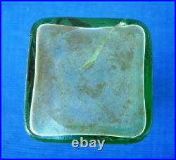 V33 Rare Vase Verre dégagé à l'acide Daum décor de fleurs H=15.5cm