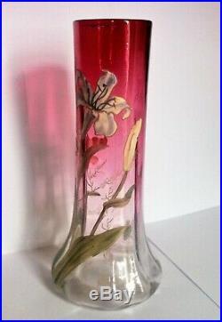 VASE ART-NOUVEAU 1900 EMAILLE AUX IRIS LEGRAS DEGRADE ROUGE RUBIS 26 cm
