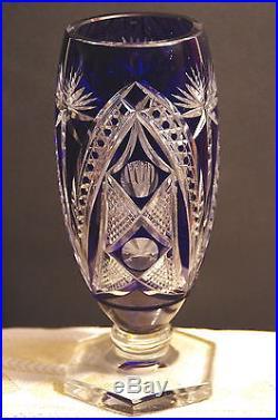 Vase Cristal France Saint Louis Bleu Fleurs Ogive Art Deco Sur Pied Hexagonal