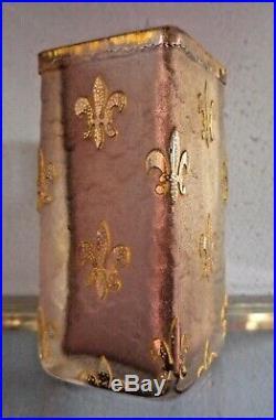 VASE EN PATE DE VERRE DAUM NANCY ART NOUVEAU 1900 FLEURS DE LYS, gallé, lalique