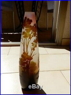 VASE Gallé Paysage lacustre Hauteur 27.5 cm