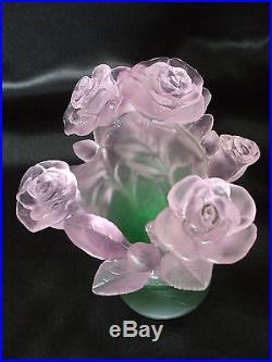 Vase Roses Pate De Cristal Couleur Rose/vert 18 CM Daum Signe