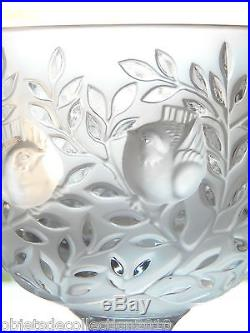 VASE cristal LALIQUE R France modèle ELISABETH COUPE SUR PIED à décor d'oiseaux