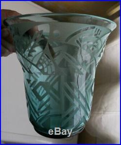 VASE en VERRE Signé DAUM NANCY FRANCE ART DECO / GLASS VASE ART DECO DAUM