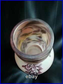 Val/Daum Vase dégagé à l'acide à décor floral Époque Art Déco
