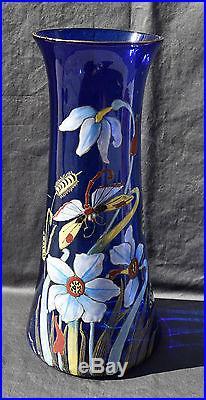 Vase Ancien En Verre Emaille Legras Fleurs Et Libellule