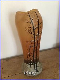 Vase Ancien Théodore LEGRAS. Paysage De Neige Hauteur 27.5 Cm. Super État