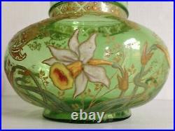 Vase Ancien Verre Vert Emaillé non signé Legras Montjoye