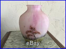 Vase Art Nouveau Pâte De Verre Lamartine dlg Daum