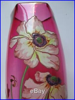 Vase Art Nouveau Verre Émaillé Rouge Aux Anémones 1900 Legras Montjoye