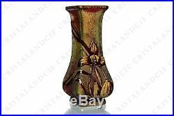 Vase Art Nouveau aux tigridias par Baccarat. Art Nouveau vase with tiger lilies