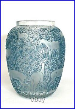 Vase Biches Patiné Bleu René Lalique R. Lalique Blue Stained Glass Deers