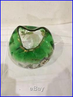 Vase Boule Verre Souffle Emaille Legras Decor De Pensees Verrerie