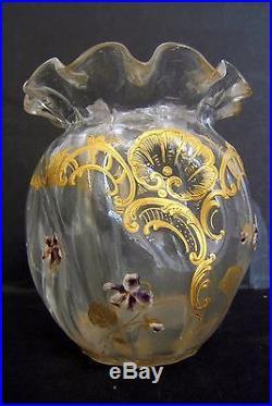 Vase Bourse Violette Cristal Emaille Et Dorure Montjoye Legras Galle Art Nouveau
