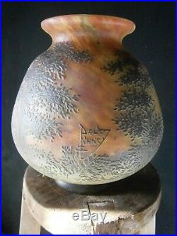 Vase DAUM NANCY Pâte De Verre Dégagée à Lacide époque 1900