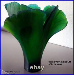 Vase DAUM modèle Ginko vert GM