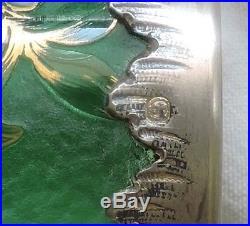 Vase Daum En Verre Givre Decors Emailles Boules De Gui Monture Argent Massif