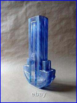 Vase Daum France Art Déco, En Verre Bleu