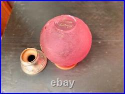 Vase Daum Nancy en pâte de verre gravée à l'acide / monture Argent Art Nouveau