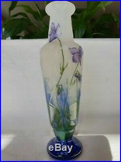 Vase Daum Nancy violettes pâte de verre authentique