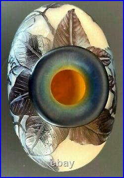 Vase Delatte Nancy art nouveau 3 couches de verre dégradées à l'acide