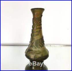 Vase Emile Gallé En Pate De Verre A Decor De Feuilles De Fougeres / Années 1900
