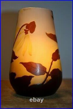 Vase Emile Gallé art nouveau décor floral 17 cm