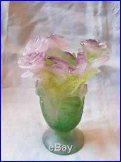 Vase En Pate De Verre Colore Signe Daum