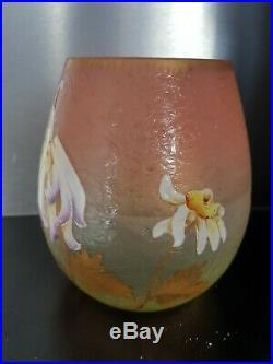 Vase En Pate De Verre Gravé Et Émaillé Legras Mont-joye St Denis Old Vase 1900