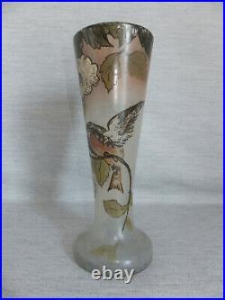 Vase En Verre Émaillé Decor D'oiseau Signé Legras